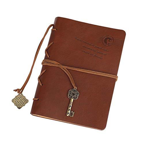 Retro Taccuino Pelle Vintage Diario di Viaggio Quaderno Travel Notebook 5.3 X 7.3 lnch 320 Pagine Marrone