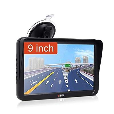 9inch Truck GPS Big Screen Xgody GPS Navigation for car Navigation 8GB Trucking GPS SAT NAV System Navigator Driving Alarm Lifetime Map Updates Truck GPS Navigation System for Trucks