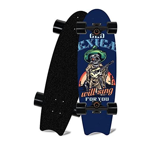 Skateboard para Principiantes, Tablero de Pescado de Surf de Caminos de 28 * 8 Pulgadas, Adecuado para Adolescentes para Adultos monopatín de cruceros-A_28 Pulgadas