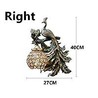 ZLININ ブラケットライト LED ウォールライト リビングルームのインテリア産業回廊の壁取り付け用燭台ランプのためのアメリカのヴィンテージ孔雀壁ランプ現代のクリエイティブ樹脂ツェッペリン壁取り付け用燭台 壁掛け照明 (Lampshade Color : Right, Size : 40cm x 27cm)