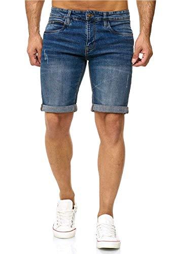 Indicode Kaden Denim Shorts, Farbe: Medium Indigo, Größe: M