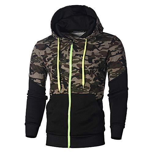 FRAUIT Herren Camouflage Sweatjacke Kapuzenjacke Hoodies Langarm Sweatshirt Zipper Patchwork Pullover Kapuzenpullover Mode Streetwear Herbst Winter Kleidung Tops Shirt M-3XL