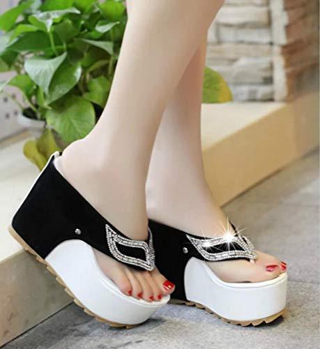 ypyrhh Sandalias con tiras de tirantes, chanclas, pendiente antideslizante con zapatillas-negro_36, sandalias de ducha antideslizantes