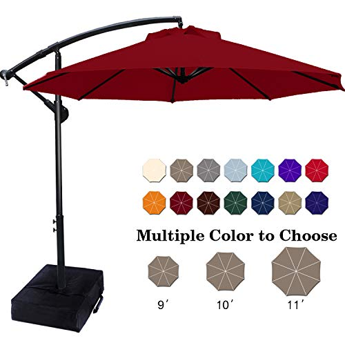 ABCCANOPY Patio Umbrellas Cantilever Umbrella Offset Hanging Umbrellas 10 FT Outdoor Market Umbrella with Crank & Cross Base for Garden, Deck, Backyard, Pool and Beach, 12+ Colors, (Burgundy)
