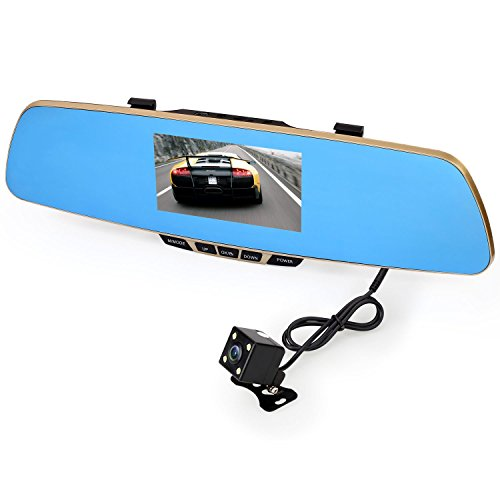 Vehemo Dual Lens Car Camera, 1080P HD, Rear View Mirror, Car Video Recorder DVR Dash Camcorder With 4.3 Inches TFT Display