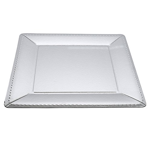 """Set of Ten (10) Silver, Silver Spoons and More Charger Collection Large 14"""" Beaded Texture Square Disposable Charger Plates"""