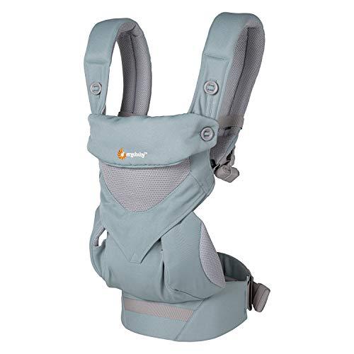 Ergobaby 360 Babytrage bis 20kg Cool Air Mesh 4-Positionen Baby-Tragetasche, Kindertrage Rückentrage Bauchtrage, Sea Mist, BC360PSEAMST
