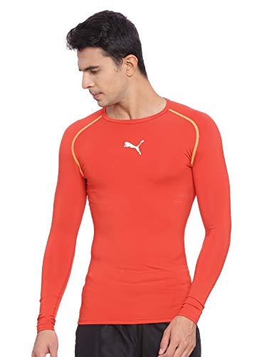 Puma Herren Kompressions T-shirt Langarm Fußball Bodywear, Puma rot, M, 654612 01