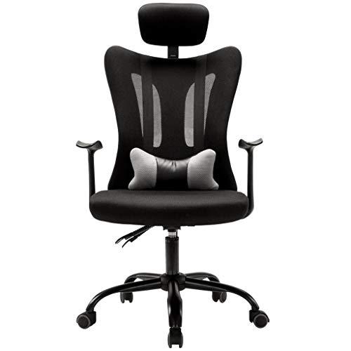 npcs Silla para videojuegos, moderna, ergonómica, de malla, con respaldo alto, silla de oficina para computadora con reposacabezas de apoyo lumbar, sillas de escritorio giratorias de 360 grados.