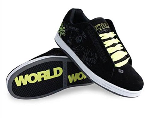World Industries Boy's Bones Skateboarding Shoe (1 M US Little Kid, Black/White/Lime)