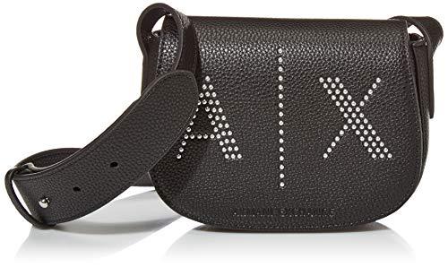 Armani Exchange AX Damen Studded Logo Flap Front Crossbody Bag Umhängetasche, schwarz, Einheitsgröße