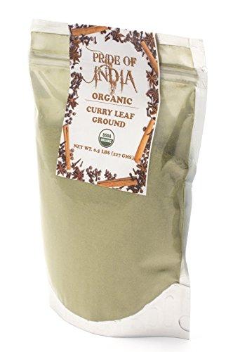Pride Of India - Biologische Curry Leaf Powder Ground - 8 oz (Half Pound) hersluitbare zak - Authentieke Indiase kruidenmix - Gebruikt in soepen, stoofschotels, chutneys en rijst etc. - Biedt de beste prijs-kwaliteitverhouding