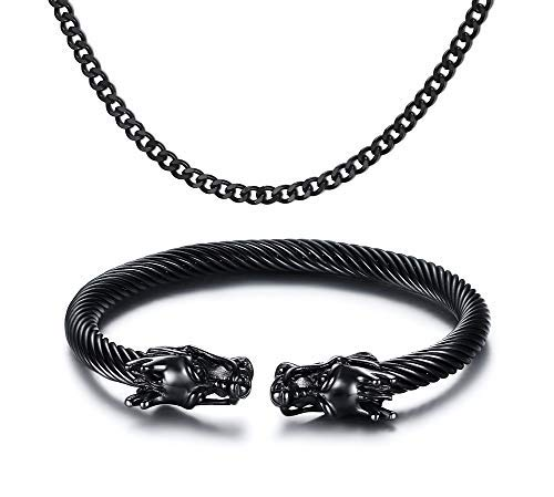 VNOX Herren Edelstahl Drache Twisted Armreif Open Cuff Armband Panzerkette Halskette Schmuck Sets,schwarz