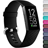 Ouwegaga Compatible for Fitbit Charge 4 Bands for Women Men,for Fitbit Charge 3 Bands Black Small