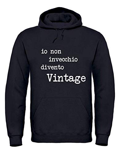 Vestin Felpa Uomo con Cappuccio - IO Non INVECCHIO DIVENTO Vintage - Made in Italy (XXL, Nero)