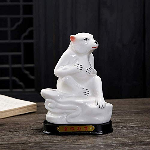 kglkb Statues For Home Decor,Animal Sculpture White Large Monkey Twelve Zodiac Signs Design Statues Art Fashion Vintage Animal Sculpture For Family Desktop Crafts Ornaments Statues Decor Accessories