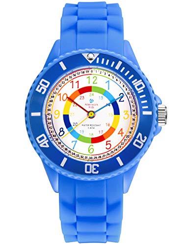Alienwork IK Reloj de Aprendizaje Infantil Niño Niña Azul Pulsera de Silicona abigarrado niños Impermeable 5 ATM