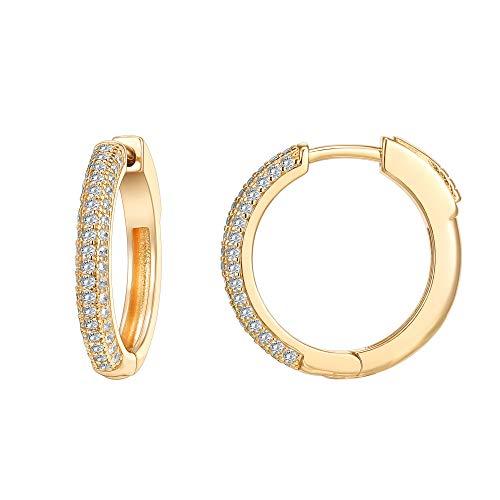 PAVOI 14K Gold Plated 925 Sterling Silver Cubic Zirconia Hoop Earrings |...