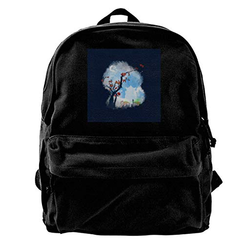 maichengxuan Canvas Backpack Spirited Away Sumie Style Rucksack Gym Hiking Laptop Shoulder Bag Daypack for Men Women