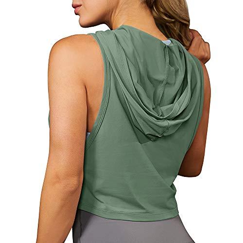 MSBASIC Top Bauchfrei Damen Sport Hoodie Crop Hoodie Damen Fitness Crop Oberteil Sommer Medium, Grün