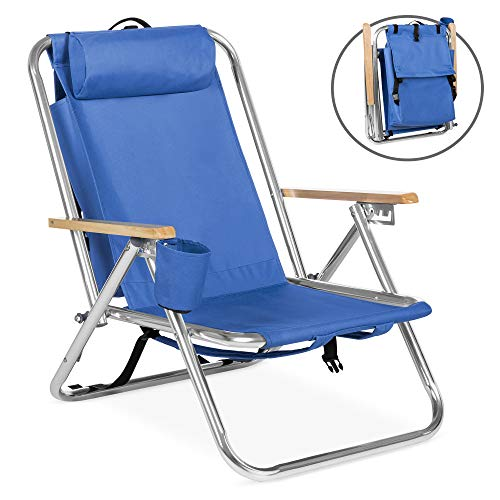 Best Choice Products Portable Folding Backpack Chair for Beach, Camping w/Removable Padded Headrest, Cup Holder