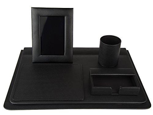 Set de escritorio en piel genuina color negro 5 piezas
