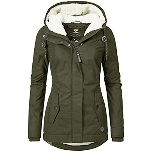 Xiaol Abrigo cálido para mujer, grueso, con capucha, impermeable, largo de...