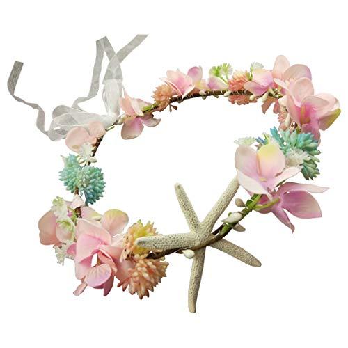 Hixixi Handmade Beach Wedding Bridal Starfish Headband Flower Mermaid Garland (Pink)