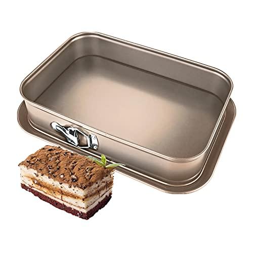 Springform eckig 35 x 24 cm, Backform rechteckig mit Flachboden, Tiramisu Form antihaftbeschichtet, Einfach zu bedienen und leicht zu reinigen, geeignet zum Backen zu Hause, Kuchenform eckig(Golden)