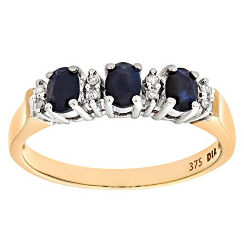 Naava Women's Eternity Ring, 9 ct Yellow Gold Diamond and Sapphire Ring, Claw Set, Size:N