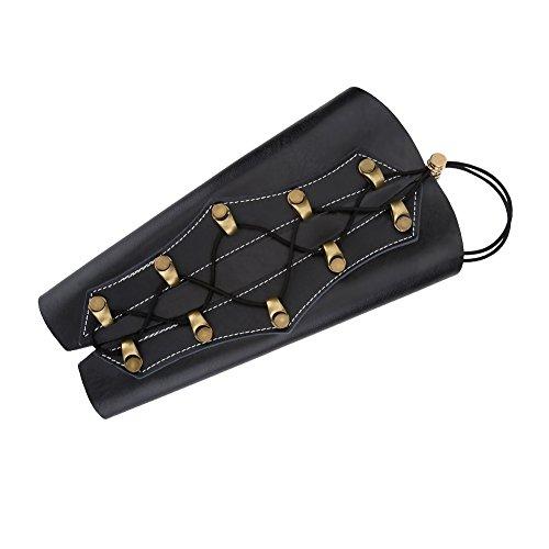 SolUptanisu Protección de Brazo de Tiro con Arco,Protector de Brazo de PU Cuero Unisex Durable Tiro con Arco Guardia Tradicional Tackle Accesorio para Tiro con Arco de Caza (Negro, Marrón)(Negro)