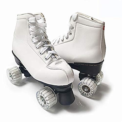 WEDSGTV Zweireihige Schlittschuhe Veloursleder-Skate, Erwachsene Rollschuhe Muster Männer Und Frauen Rollschuhe,White-34