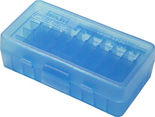 MTM 380/9MM Cal 50 Boîte à munitions ronde à rabat Bleu transparent