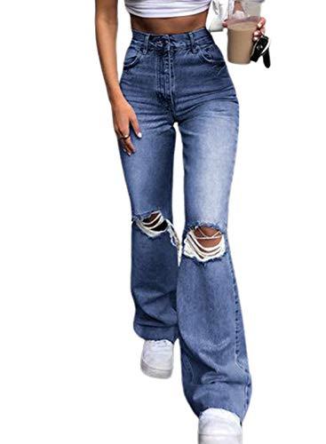 CORAFRITZ Las mujeres rasgaron los pantalones vaqueros de cintura alta acampanados pantalones de bolsillo inferior crudo bodycon desgastado denim jeggings