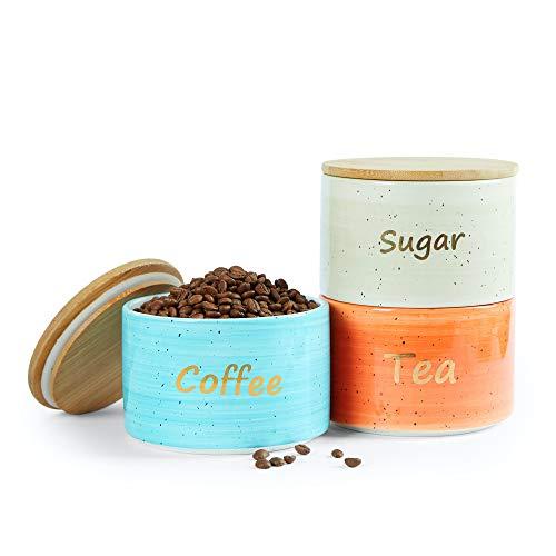 Uno Casa 3 frascos para café, azúcar y té – Botes herméticos con Tapa de bambú