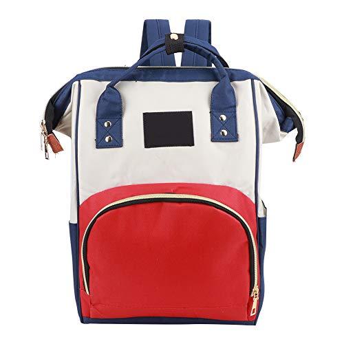 Bolsa de pañales de alta calidad, mochila para pañales, bolsa de lactancia para mamá de gran capacidad, diseño elegante para artículos de bebé,(Red rice blue)