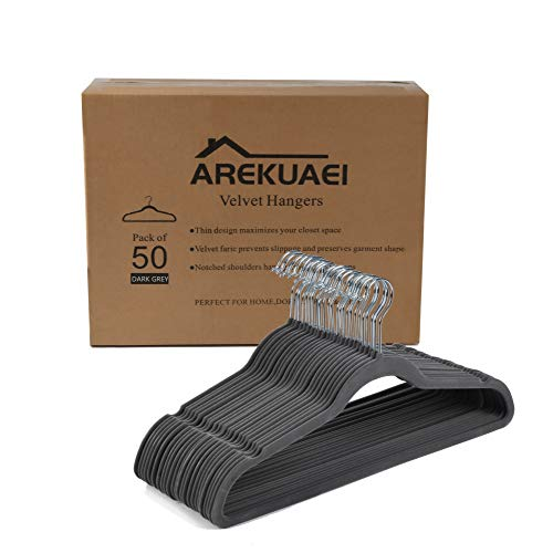 AREKUAEI Non-Slip Dark Grey Velvet Hangers - Suit Hangers 50-Pack Ultra Thin Space Saving 360 Degree Swivel Hook Strong and Durable Clothes Hangers  for Coats Jackets Pants Dress Clothes…