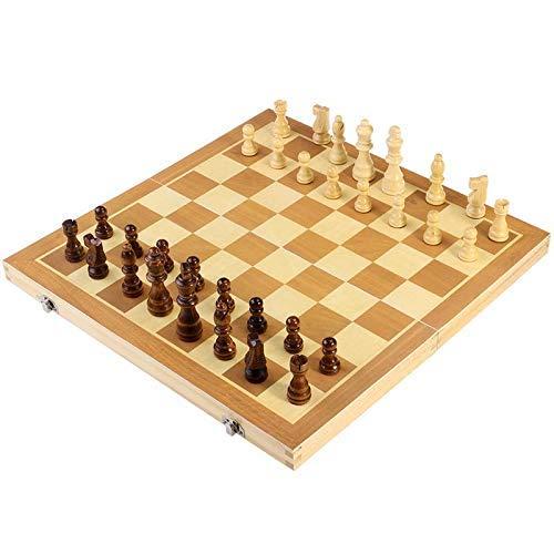Schaken Dammen en Backgammon Folding Houten Magnetic Schaak bordspel met stukken Met Portable Leuk Opbergzakken for gemakkelijk te dragen zhihao