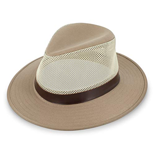 fiebig Sombrero de viaje Dundee con corona de malla robusta, sombrero de safari con accesorios de piel sintética, sombrero de exterior con red