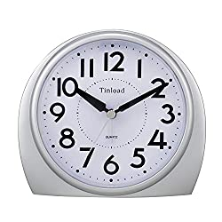5.5 Silent Analog Alarm Clock Non Ticking, Gentle Wake, Beep Sounds, Increasing Volume, Battery Operated Snooze and Light Functions, Easy Set (Silver)