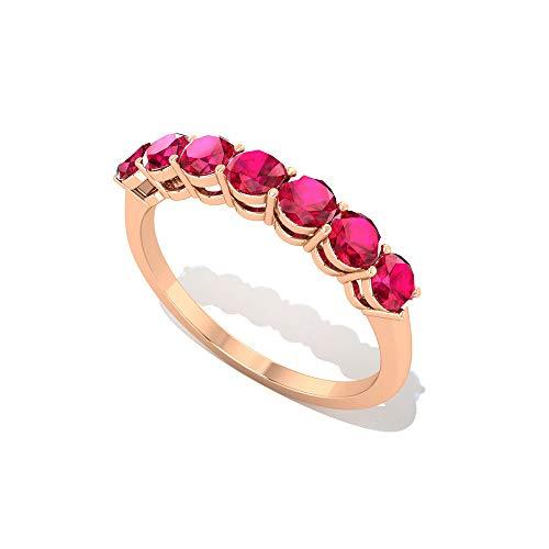 Anillo de boda hecho a mano de 1,05 CT certificado rubí laboratorio creado en oro, vintage grabado rojo anillo de media eternidad, 18K Oro rosa, Size:EU 70