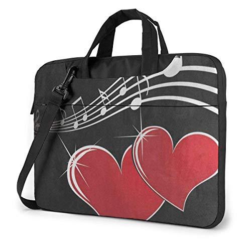 Music Heart Laptop Bag 15.6 Inch Shoulder Messenger Bag Computer Tote Briefcase for Work School