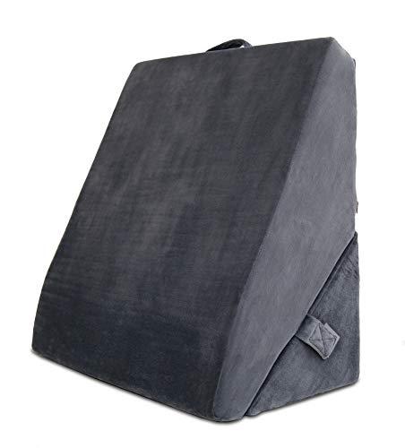 maxVitalis Multifunktions-Keilkissen Rückenkissen Kniestütze Beinablage Venenkissen für Couch und Sofa, Lesekissen, Größe 58×34×55 cm, grau