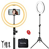 MountDog Ring Light: 14' 3 Color Lights 5600K Dimmable LED Ring Light Kit with Stand, Wireless Remote, Phone Holder and Carrying Bag for Makeup Smartphone YouTube Self-Portrait Shooting