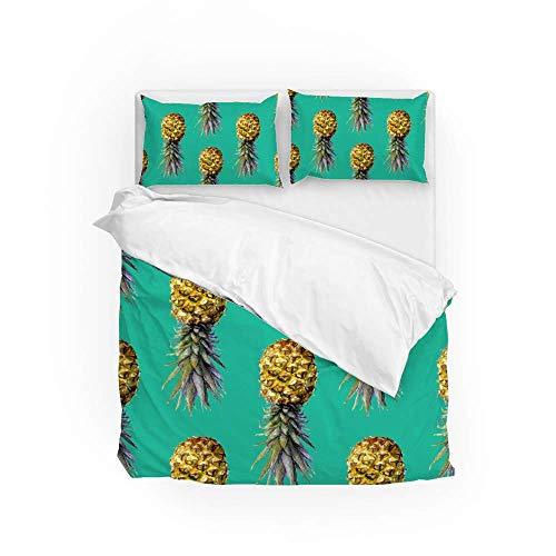 161 Soft Quilt Bedding Set Hanging Pineapple Duvet Cover with 2 Pillowcases Set 3 PCS 200 x 200 CM, Double Size