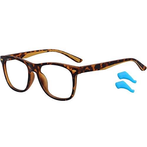 Kids Blue Light Blocking Glasses for Boys Girls Lightweight TR Computer Gaming Eyeglasses Frame Anti Eyestrain (Leopard)