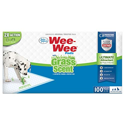 Four Paws Wee-Wee Grass Scented Puppy Pads 100 Count Standard 22