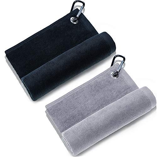 2 Piezas Toalla de Golf de Microfibra Toalla de Limpieza de Golf con Clip para Golf Yoga Acampada Gimnasia (Negro, Gris, 16' x 13')