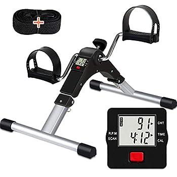 TABEKE Pedal Exerciser Under Desk Bike - Folding Pedal Exerciser for Arm/Leg Workout Portable Desk Bike Peddler Exerciser with LCD Display
