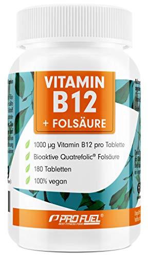 VITAMIN B12 Depot • 1000µg + FOLSÄURE • 400µg | 180 kleine Tabletten | 12 Monatspackung | Methycobalamin B12 | Quatrefolic® Folsäure | Made in Germany | 100{f2b6eb048b2acb4cfaf7ca157d1b0d8208d1b5a01c808edb81d501b0a1101ca9} vegan